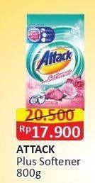 Promo Harga ATTACK Detergent Powder Plus Softener 800 gr - Alfamart