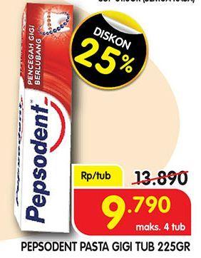 Promo Harga PEPSODENT Pasta Gigi Pencegah Gigi Berlubang 225 gr - Superindo