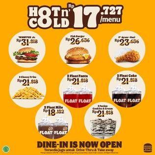 Promo Harga BURGER KING BURGER KING Burger Whooper Jr/ Fish ; Cheesy Fries ; Nasi+Ayam ; Float Fanta/ Milo/ Coke ; Fusion Cookies and Cream  - Burger King
