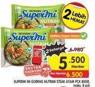 Promo Harga SUPERMI Mi Instan Nutrimi Mie Goreng Steak Ayam 80 gr - Superindo