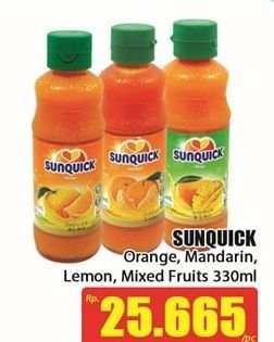 Promo Harga SUNQUICK Minuman Sari Buah Orange, Lemon, Mandarin, Mixed Fruits 330 ml - Hari Hari