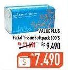 Promo Harga VALUE PLUS Facial Tissue Softpack 200 sheet - Hypermart