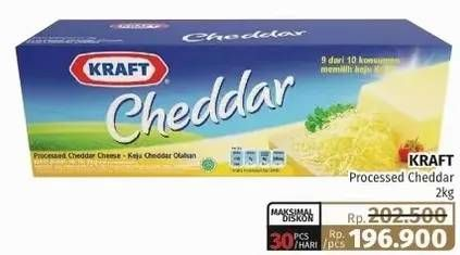 Promo Harga KRAFT Cheese Cheddar 2000 gr - Lotte Grosir