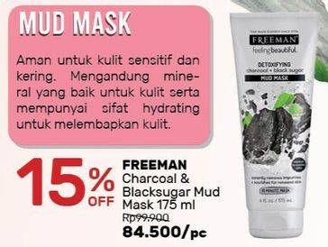Promo Harga FREEMAN Mask Charcoal + Black Sugar 175 ml - Guardian
