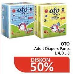 Promo Harga OTO Adult Diapers Pants XL3, L4 3 pcs - Alfamidi