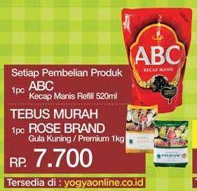 Promo Harga ROSE BRAND Gula Kristal Putih Kuning, Premium 1000 gr - Yogya