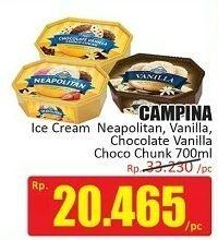 Promo Harga CAMPINA Ice Cream Chocolate Chunks, Neapolitan, Vanilla 700 ml - Hari Hari
