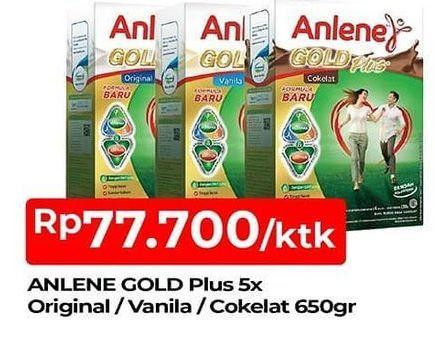 Promo Harga ANLENE Gold Plus 5x Hi-Calcium Original, Vanila, Coklat 650 gr - TIP TOP
