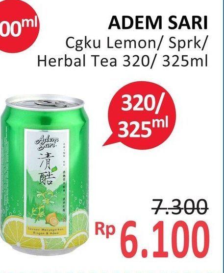 Promo Harga ADEM SARI Ching Ku Herbal Lemon, Herbal Tea, Sparkling Herbal Lemon 320 ml - Alfamidi