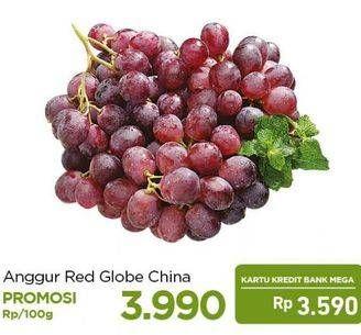 Promo Harga Anggur Red Globe Cina per 100 gr - Carrefour