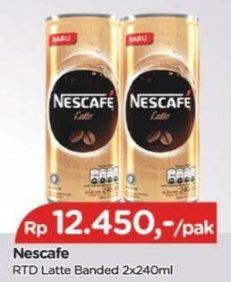 Promo Harga NESCAFE Ready to Drink Latte 240 ml - TIP TOP