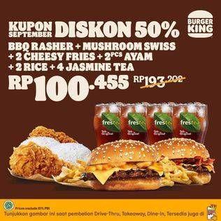 Promo Harga BURGER KING Burger, Fries, Nasi Ayam, Jasmine Tea  - Burger King