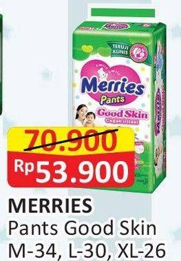 Promo Harga MERRIES Pants Good Skin XL26, M34, L30 26 pcs - Alfamart