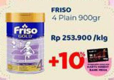 Promo Harga FRISO Gold 4 Susu Pertumbuhan Plain 900 gr - Carrefour