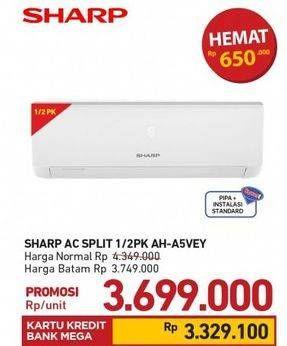 Promo Harga SHARP AH-A5VEY | AC 1/2PK  - Carrefour