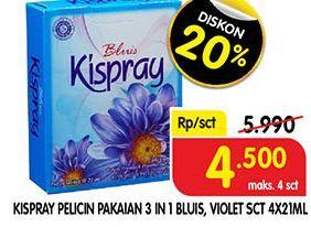 Promo Harga KISPRAY Pelicin Pakaian Bluis, Violet per 4 sachet 21 ml - Superindo