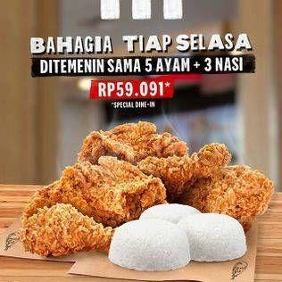 Promo Harga KFC Paket Ayam 5+3 Nasi  - KFC