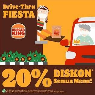 Promo Burger King Min pembelian Rp 85,000 tidak berlaku kelipatan. Tunjukkan gambar ini saat pemesanan