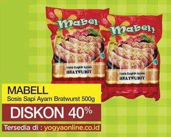 Promo Harga MABELL Bratwurst Sosis Ayam, Sosis Sapi 500 gr - Yogya