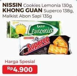 Promo Harga NISSIN NISSIN Cookies Lemonia 130 g/ KHONG GUAN Superco 138 g, Malkist Abon Sapi 135 g  - Alfamart