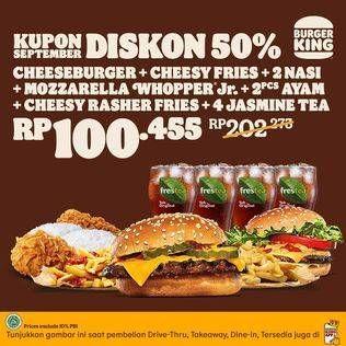 Promo Harga BURGER KING Burger, Nasi Ayam, Kentang, Jasmine Tea  - Burger King