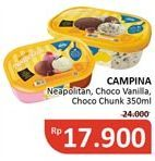 Promo Harga CAMPINA Ice Cream Chocolate Chunks, Neapolitan 350 ml - Alfamidi