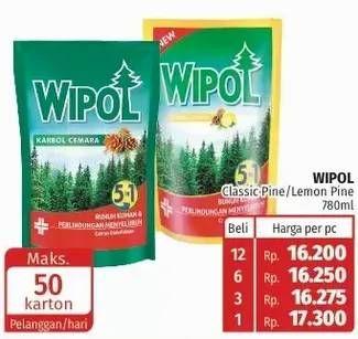 Promo Harga WIPOL Karbol Wangi Cemara, Lemon 780 ml - Lotte Grosir