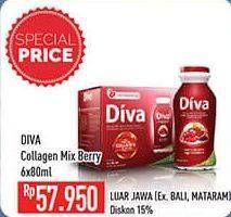 Promo Harga DIVA Minuman Collagen High Vit. E Mix Berries 80 Ml 6 pcs - Hypermart